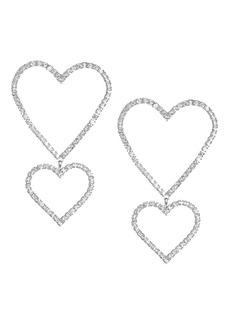 Fallon Double Crystal Pavé Heart Drop Earrings