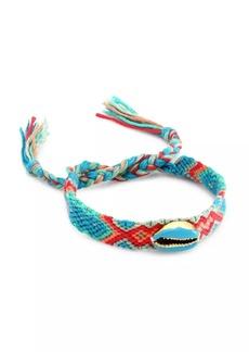 Fallon Enamel Shell Embellished Woven Friendship Bracelet