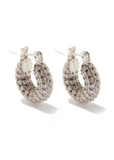 Fallon Doughnut zircon &14kt white gold-plated earrings