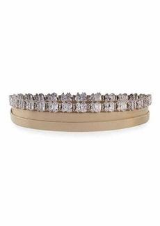 Fallon Leather Wrap Choker w/ Baguette Crystals