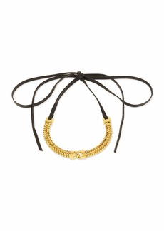 Fallon Link-Front Leather Choker Necklace
