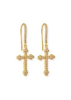 Fallon Micro Crucifix Earrings  Golden