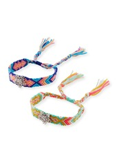 FALLON Pull-Cord Friendship Bracelets  Set of 2  Pastel