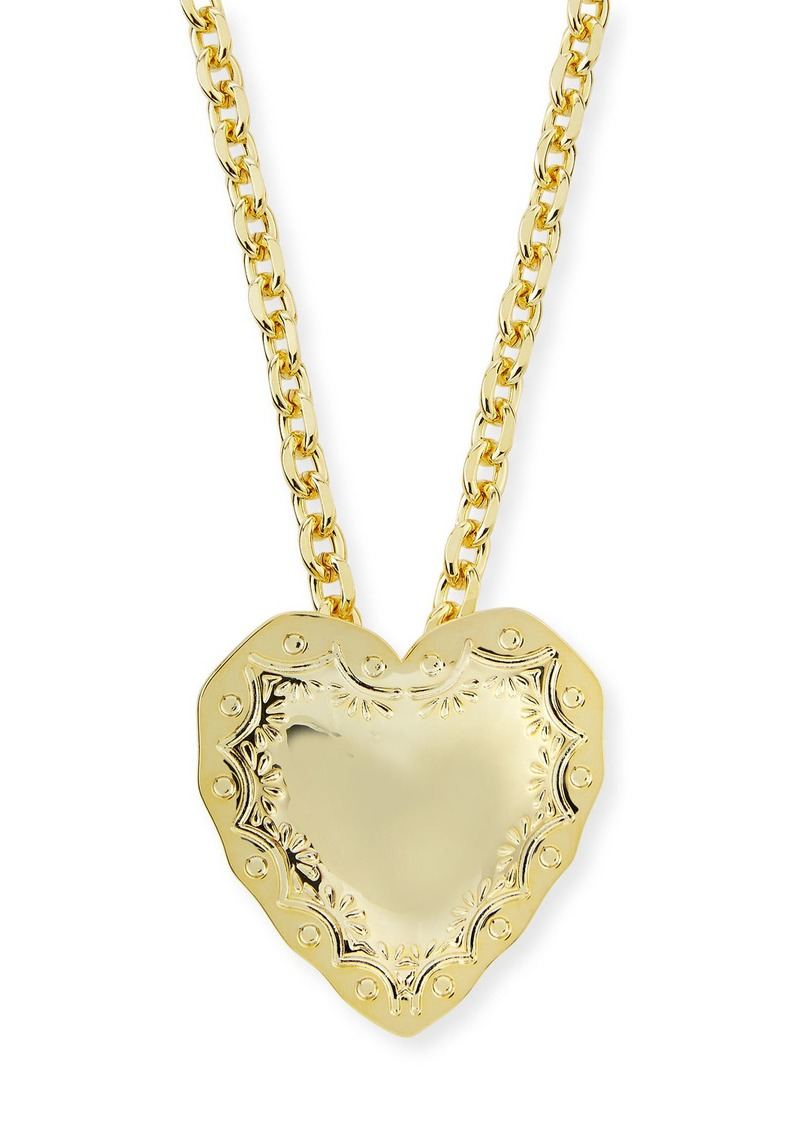 Fallon Repousse Heart Pendant Necklace