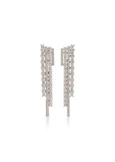 FALLON Rhodium And Crystal Drop Earrings