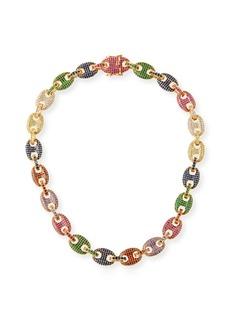 Fallon Toscano Pave-Link Necklace  Multicolor