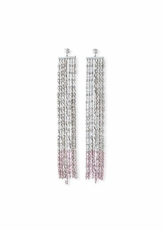 Fallon Waterfall Crystal Earrings  Clear/Pink