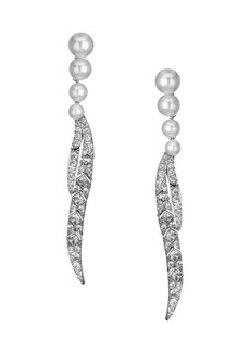 Fallon Faux Pearl & Sparkling Palm Frond Drop Earrings