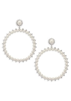 Fallon Faux-Pearl Drama Hoop Earrings