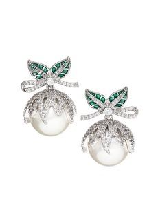 Fallon Juniper Berry Shell Pearl & Pavé Drop Earrings