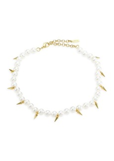 Fallon Linda Shell Pearl Spike Choker Necklace