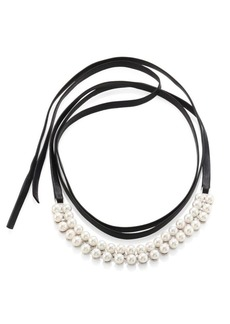 Fallon Monarch Faux Pearl & Leather Wrap Choker