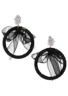 Fallon Monarch Tuxedo Bow Hoop Earrings