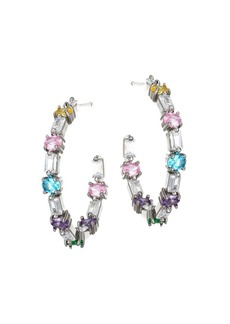 Fallon Multicolor Crystal Ferris Wheel Hoop Earrings