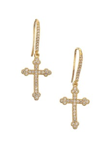 Fallon Pave Cross Drop Earrings