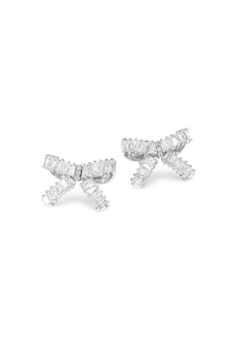 Fallon Rhodium-Plated Cubic Zirconia Bow Earrings