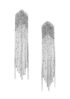 Fallon Rhodium-Plated Cubic Zirconia Waterfall Drop Earrings