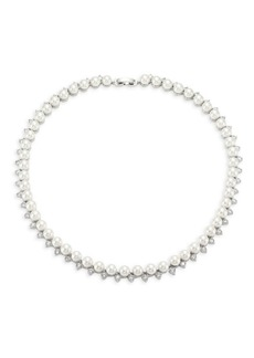 Fallon Shell Pearl Pave Collar Necklace