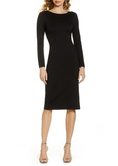 Fame and Partners Fame & Partners Tie Back Long Sleeve Body-Con Midi Dress