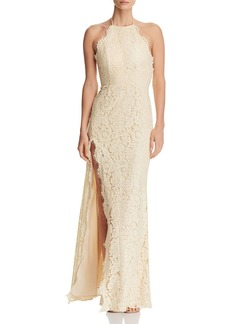 Fame and Partners Dragon Eyes Lace Halter Gown