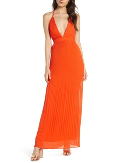 Fame and Partners The Caspian Plunge Neck Plissé Chiffon Gown