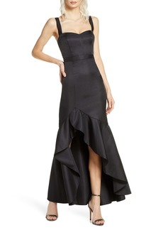 Fame and Partners The Florence Ruffle High/Low Gown