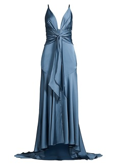 Fame and Partners Lake Draped Satin Gown