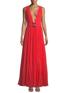 Fame and Partners The Vicente Sleeveless Plunge-Neck Open-Back Georgette Dress