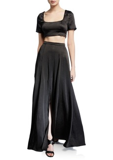 Fame and Partners The Zita Two-Piece Satin Twill Crop Top & Skirt Set