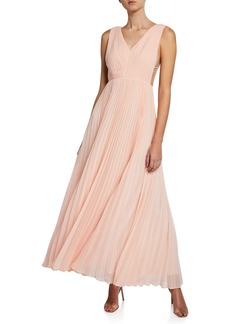 Fame and Partners V-Neck Multi-Strap Pleated Gown