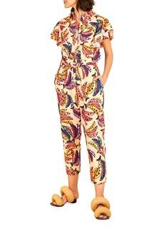 FARM Rio Banana Bunch Frilled-Sleeve Multicolor Jumpsuit