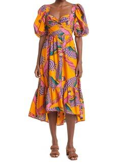 FARM Rio Beaded Macaws Cotton Midi Dress