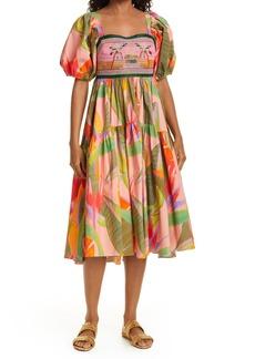 FARM Rio Pink Garden Embroidered Dress