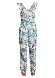 FARM Rio Flying Toucans Ruffle Linen Jumpsuit
