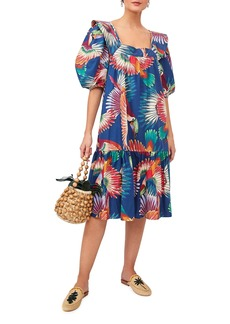 FARM Rio Navy Colorful Toucans Printed Midi Dress