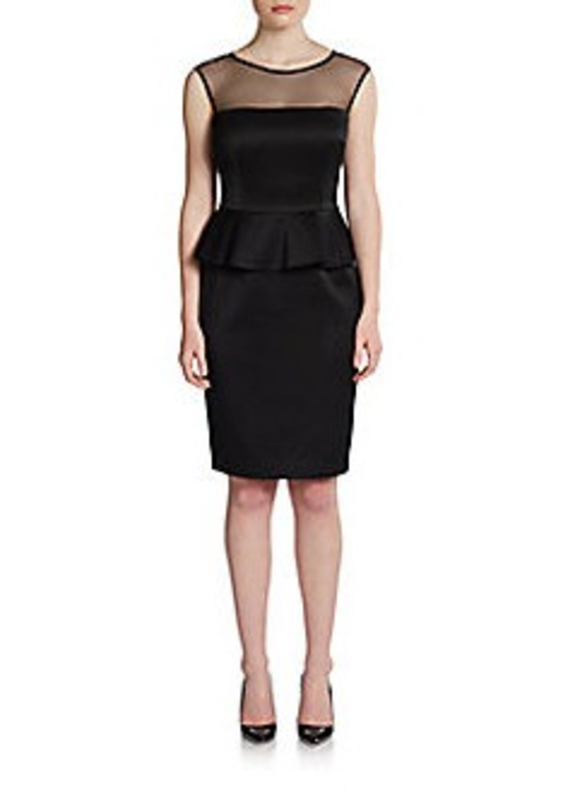 David Meister Illusion Peplum Dress