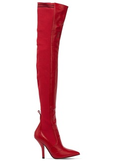 Fendi 105mm Leather & Knit Over The Knee Boots