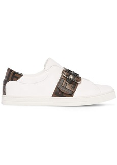 Fendi 20mm Ff Logo Buckled Leather Sneakers