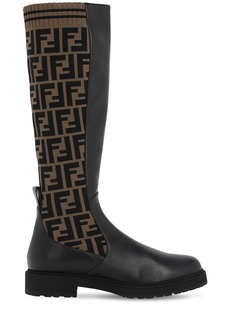 Fendi 30mm Tall Leather & Knit Sock Boots