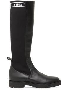 Fendi 30mm Tall Leather & Rib Knit Boots