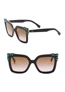 Fendi 52MM Crystal-Embellished Square Sunglasses