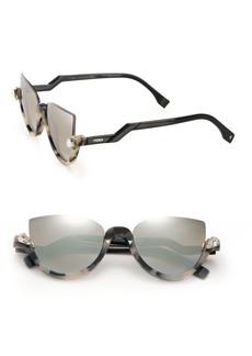 Fendi 52MM Embellished Semi-Rimless Acetate Sunglasses