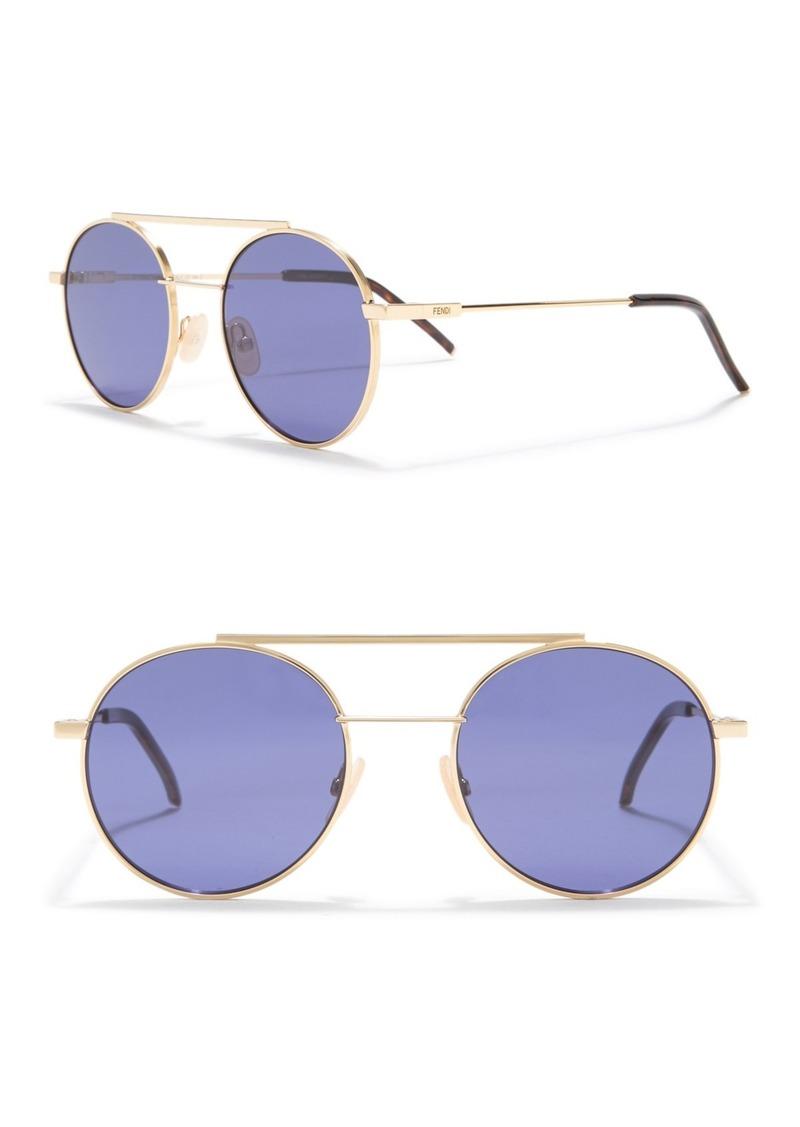 Fendi 52mm Round Aviator Sunglasses