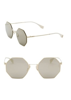 Fendi 53MM Geometric Metal Sunglasses