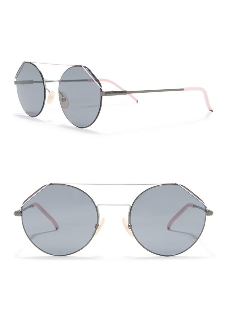 Fendi 54mm Round Aviator Sunglasses