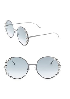 Fendi 58MM Round Sunglasses With Pearls