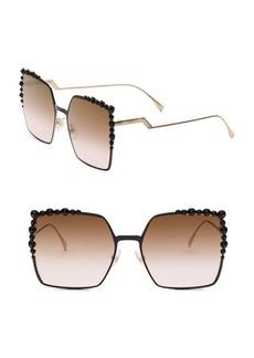 60MM Embellished Square Sunglasses