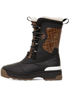 Fendi 60mm Ff Rubberized Leather Snow Boots