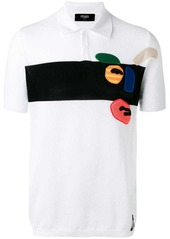 Fendi abstract face polo shirt