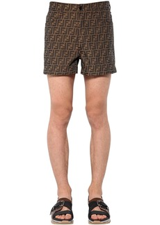 Fendi Allover Logo Printed Cotton Blend Shorts